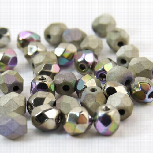 27099002-00 Firepolish - 4 mm Faceted Round - Crystal Glittery Argentic Shine/Matt (50)