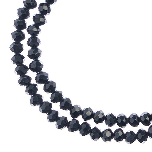 27290102-57 Faceted Donut Rondelle - 3x4mm - Opaque Black (strand)