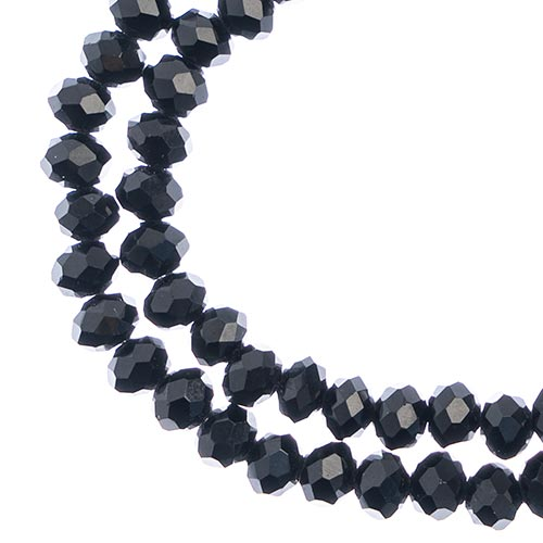 27290103-57 Faceted Donut Rondelle - 4x6mm - Opaque Black (strand)
