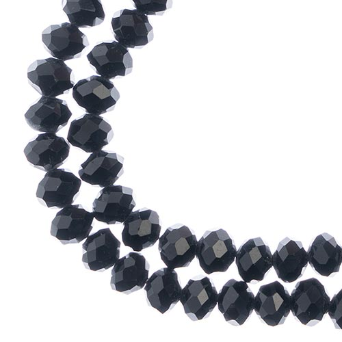 27290104-57 Faceted Donut Rondelle - 6x8mm - Opaque Black (strand)