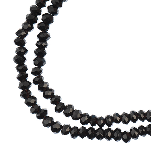 27290108-57 Faceted Donut Rondelle - 1.5x2.5mm - Opaque Black (strand)