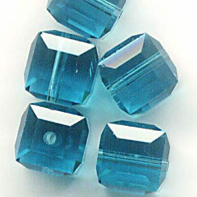 27756011225379 Swarovski Bead - 6mm Faceted Cube (5601) - Indicolite