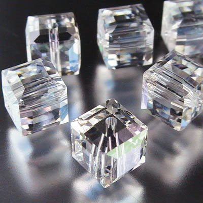27756011302001 Swarovski Bead - 6mm Faceted Cube (5601) - Crystal Moonlight