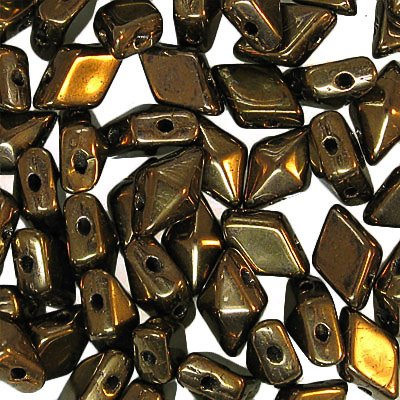 27888120-02 Czech Shaped Beads - 2 Hole Diamond Duo - Dark Bronze
