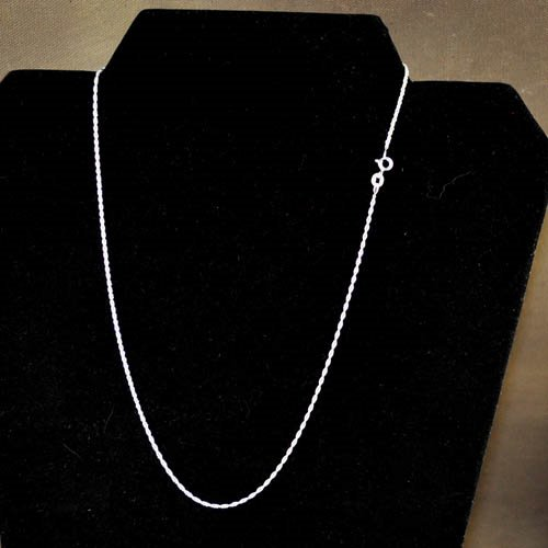 96035181 Sterling - Finished Chain - 18in Necklace - Fine Spiral Rope - Bright Sterling