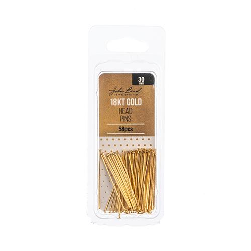 96104019-06 Headpins Flat head 30mm / 21ga - 18kt Goldplated (Pack)