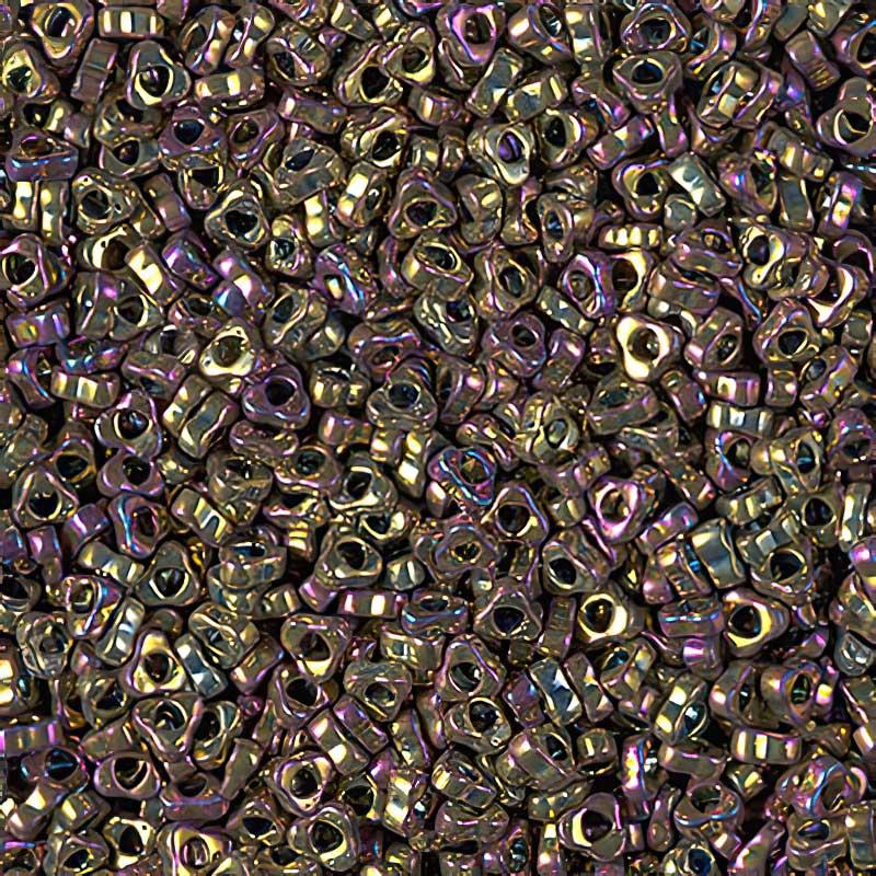 MSPTR28-188 Japanese Seedbeads - 2.8mm Miyuki Triangle Spacer Beads - Metallic Purple Gold Iris