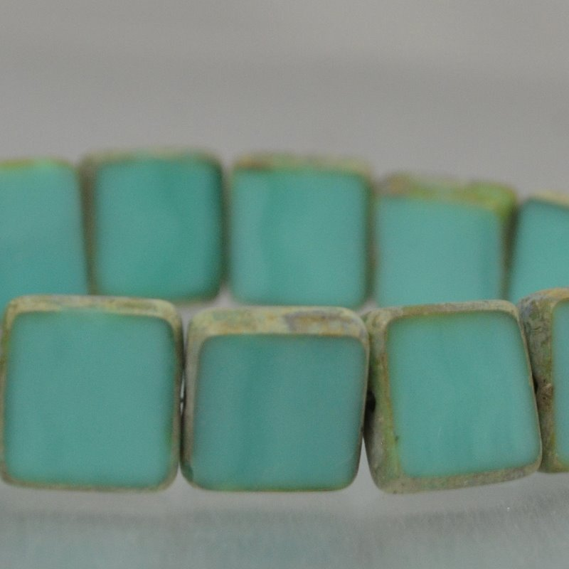 s16413 Czech Glass - 11 x 10 mm Flat Square Tablet - Turquoise Picasso (Strand 15)