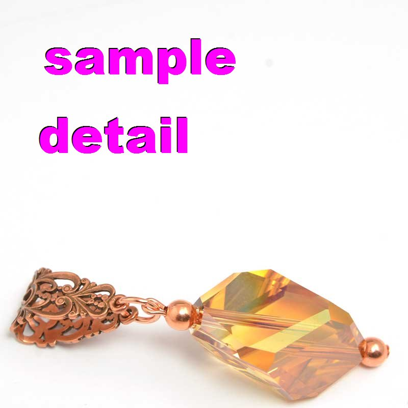 s23568 Bail -  Perogi Flower - Antiqued Copper