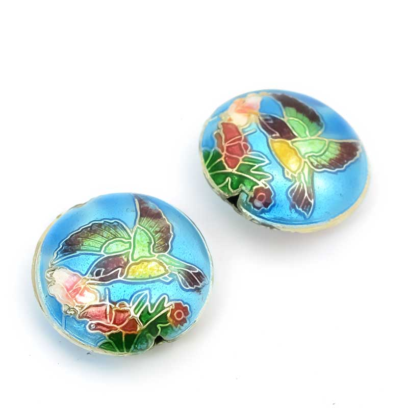 s23973 Cloisonne -  Round Hummingbird - Aqua