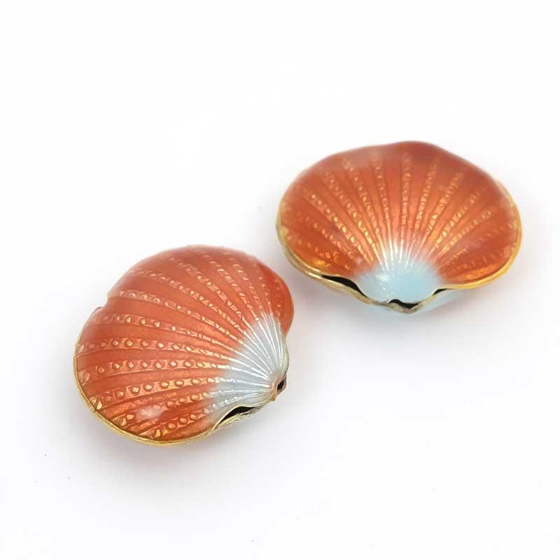 s34393 Cloisonne -  Scallop Shell - Cinnamon