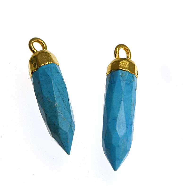 s34724 Stone Pendant -  Faceted Point Drop with Cap - Turquoise - Gold Plated (pair)
