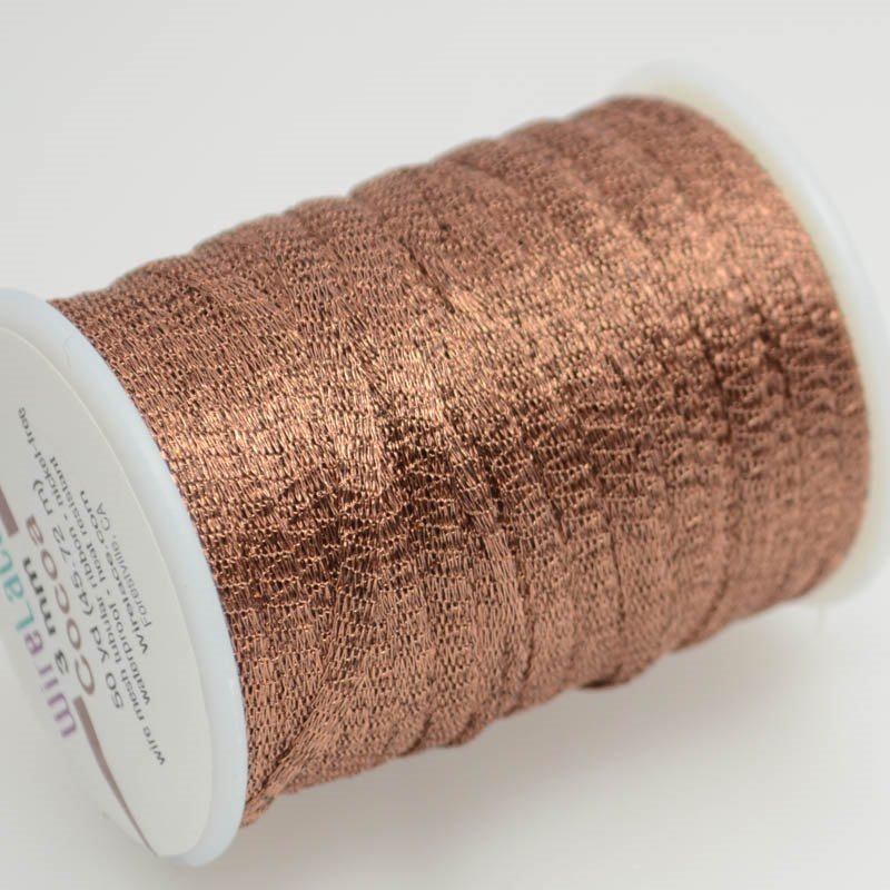 s38757 Stringing - 3mm Wire Lace Ribbon - Cocoa (Yard)