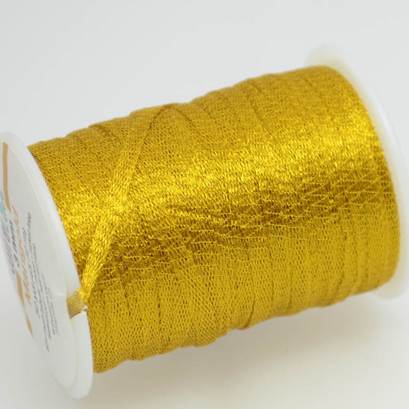 s38768 Stringing - 3mm Wire Lace Ribbon - Marigold (Yard)