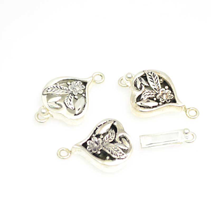 s40419 Box Clasp -  Heart Flower - Sterling
