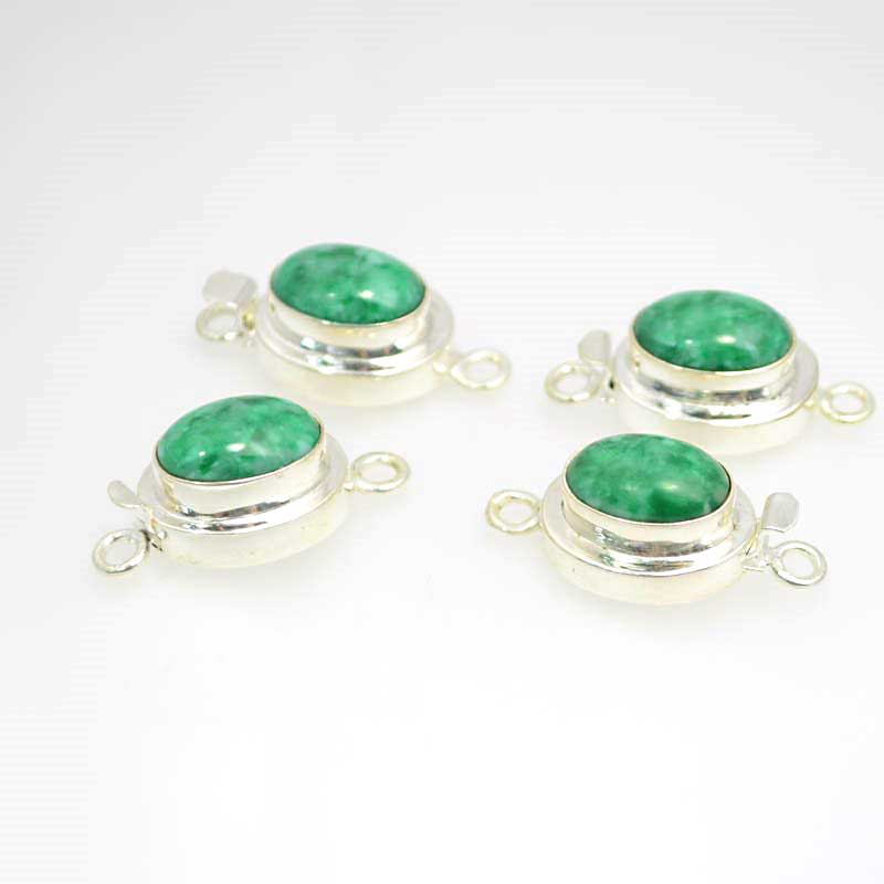 s40420 Box Clasp -  Oval Cabochon - Green - Sterling Filled