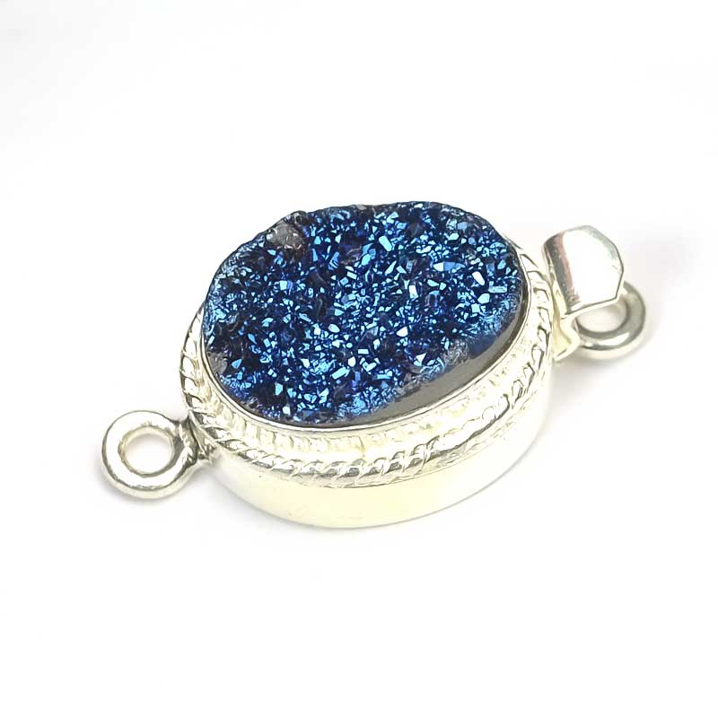 s41110 Finding - Box Clasp w Cabochon -  Oval Druzy - Deep Blue - Sterling