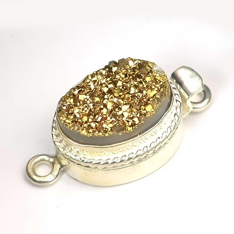 s41111 Finding - Box Clasp w Cabochon -  Oval Druzy - Gold - Sterling