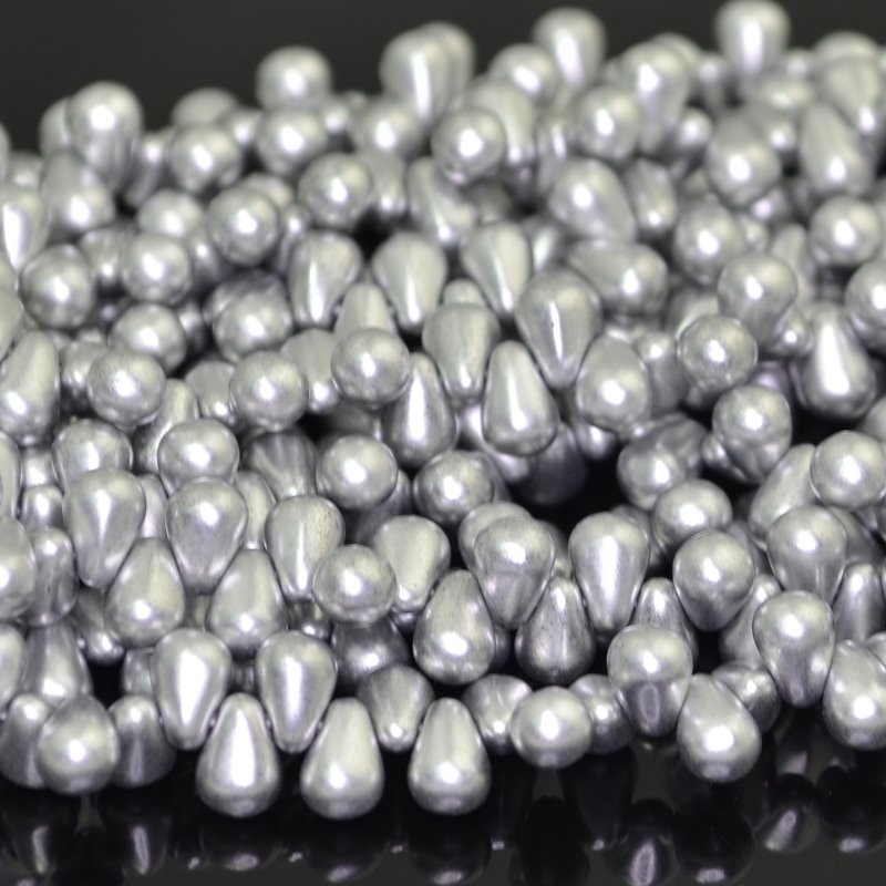 "s41188 Glass Drops - 4 x 6 mm Tiny Tims Drops - Silky Silver (50) - <font color=""#FF0000"">Manager Special</font> - 50% off!"