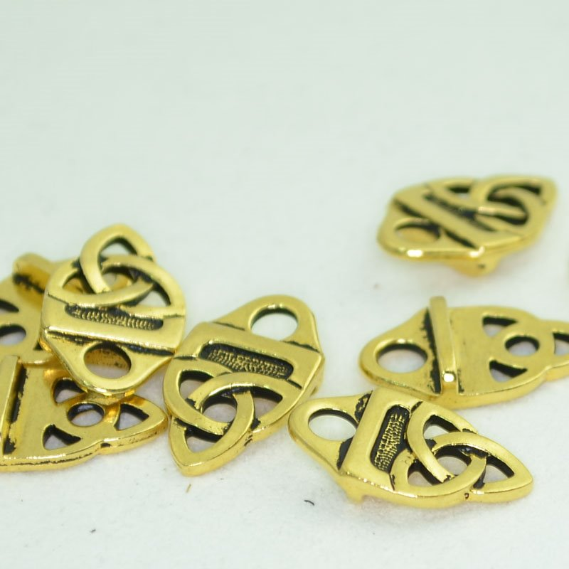 s42962 Leather Riveting Supplies -  Celtic Strap Tip - Antiqued Gold