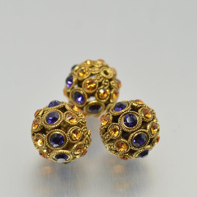 s49063 Swarovski Filigree Beads - 13mm Round - Purple Velvet / Topaz - Antiqued Gold