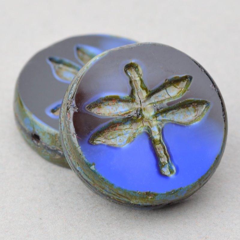 s49164 Czech Glass -  Dragonfly Coin - Midnight Ocean (5)