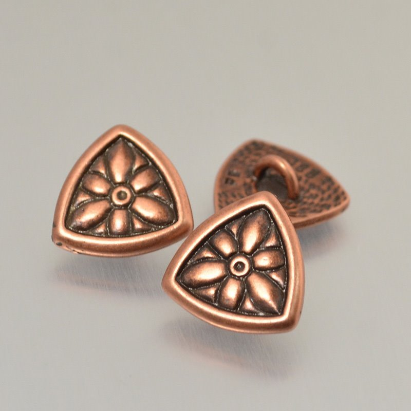 s49231 Metal Buttons -  Flower Shield - Antiqued Copper