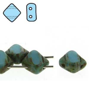 s49267 Czech Glass Beads -  2 Hole Silky Beads - Turquoise Picasso (Strand)