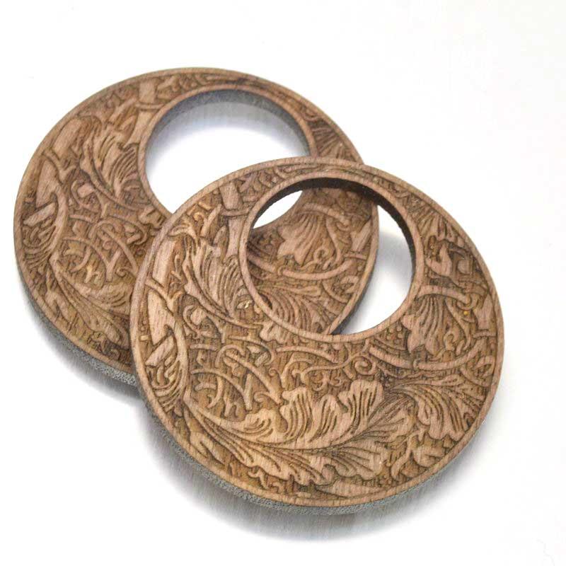 s49408 Pendant -  Walnut Wood Round Pendant - Victorian