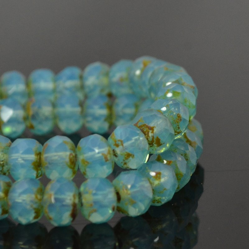 s49428 Czech Firepolish Glass - 7 x 5 mm Faceted Donut Rondelle - Turquoise Opal Picasso (strand 25)