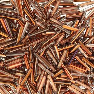 s49793 Czech Glass - 12 mm Bugle Beads - Crystal Sunset