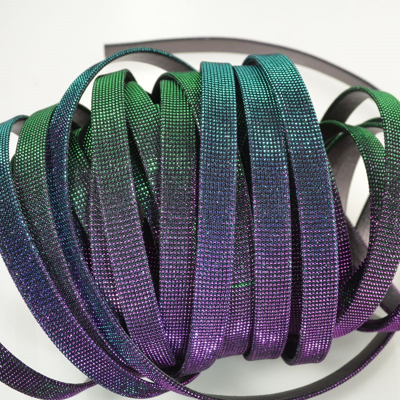 s49917 Leather - 10 mm Flat Leather - Iridescent Rainbow (Inch)