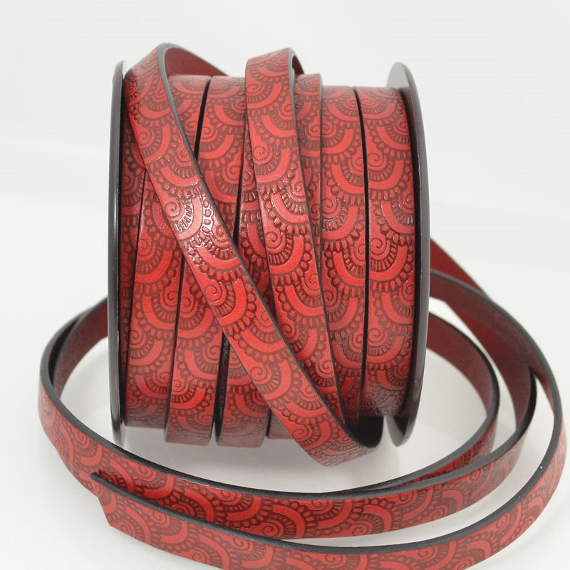 s49919 Leather - 10 mm Embossed Flat Leather - Paisley - Grilled Tomato (Inch)