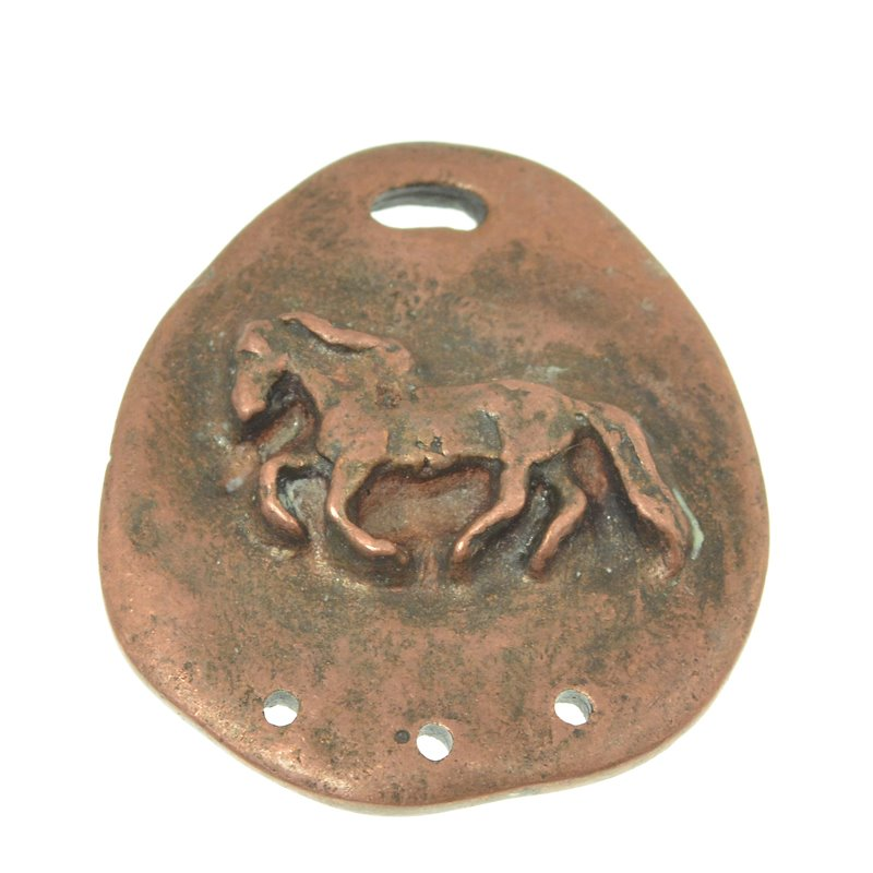 s49954 Metal Pendant -  Rough Pony - Antiqued Copper