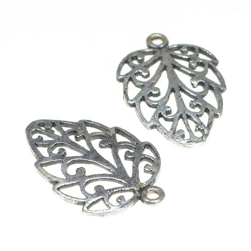 s50044 Charm -  Baroque Leaf - Antiqued Silver (5)