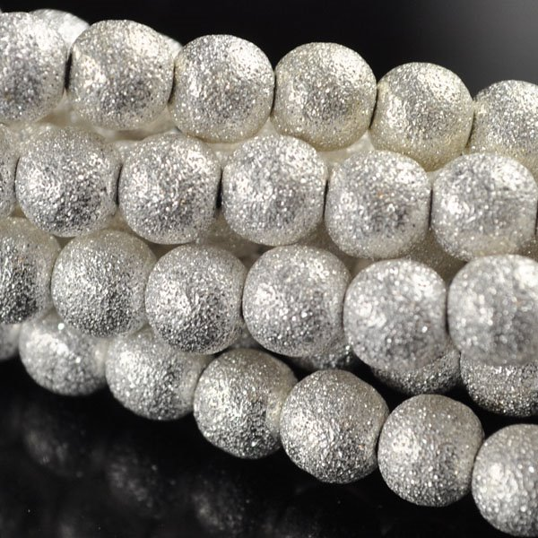 s50100 Metal Bead -  Stardust Round - Bright Silver (strand)