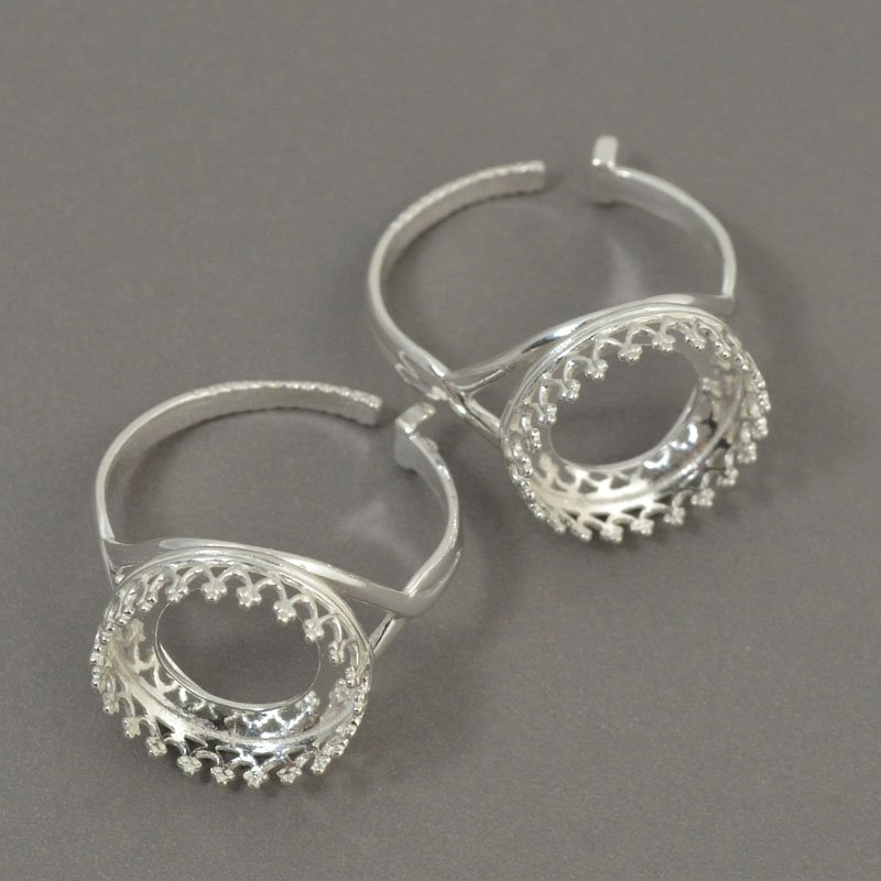 s50388 Finger Rings - ID 14 mm Crown Bezel - Sterling Silver