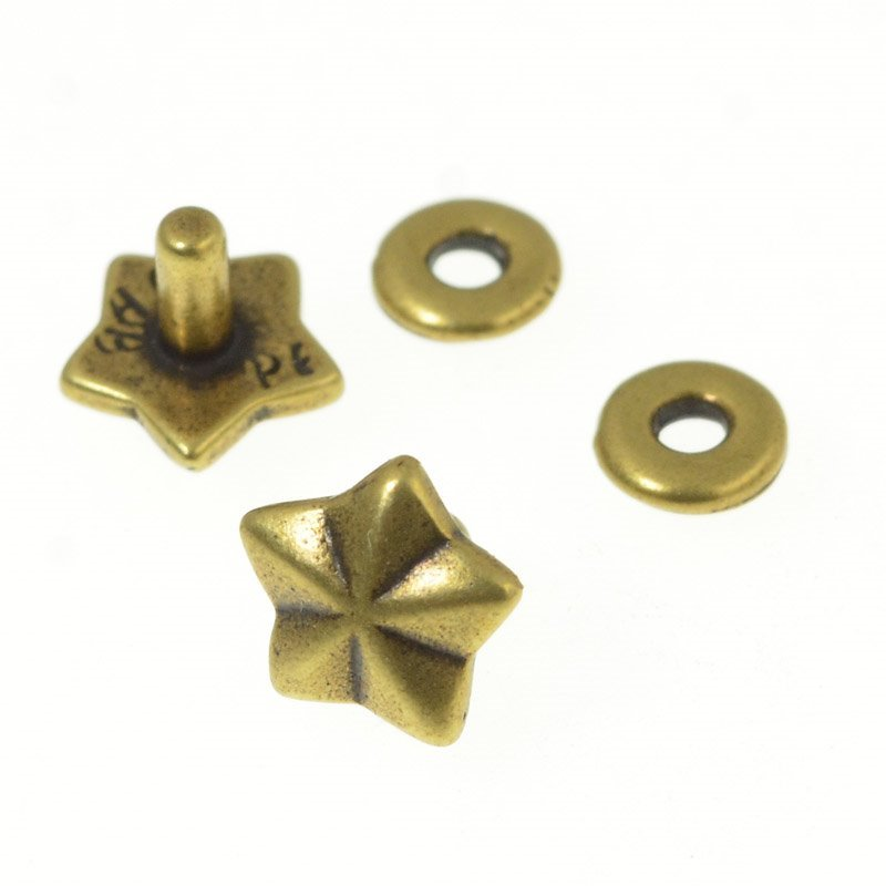 s50641 Riveting Supplies -  General Star Stud Rivet and Base - Antiqued Brass (5)