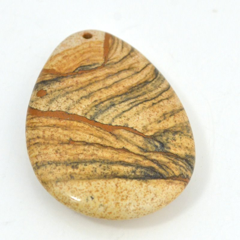 s50946 Stone - 55 mm Pear Drop Pendant - Picture Jasper