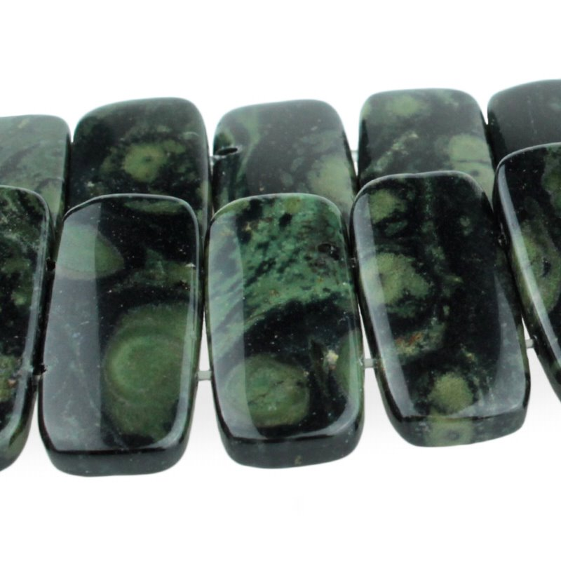 s50950 Stone Beads - 20 x 10 mm Double Drilled Oval - Kambaba Jasper