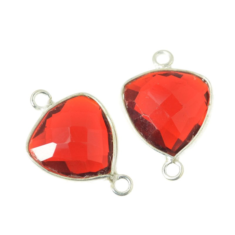 s54562 Stone Pendant - 12mm / 2-Loop Faceted Shield - Deep Red Hydro Quartz
