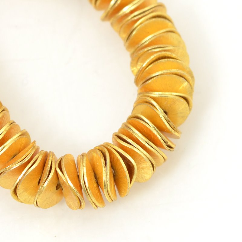 s55934 Metal Bead - 10mm Curvy Disk - Brushed Gold (strand)