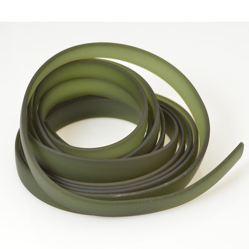 s56187 Flat Non-Leather - 10mm Jelly Band - Forest Green (8 inch strip)