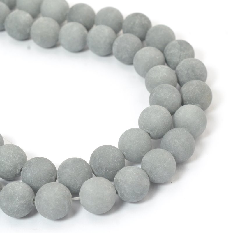 s57390 Glass Beads Round - Frosted 10mm - Fog Grey (strand)