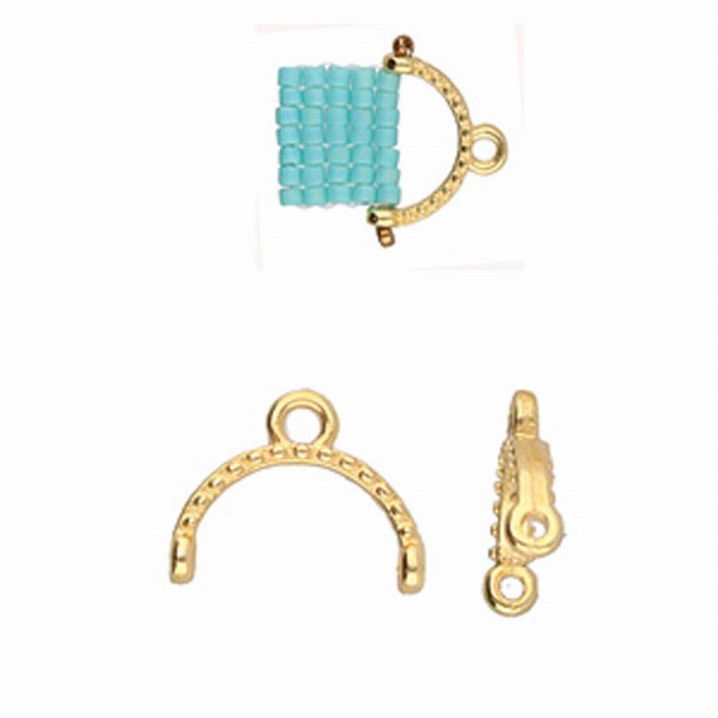 s61278 Cymbal Finding -  Skaloti II - Delica 11/0 Bead Ending - Gold Plated (2)