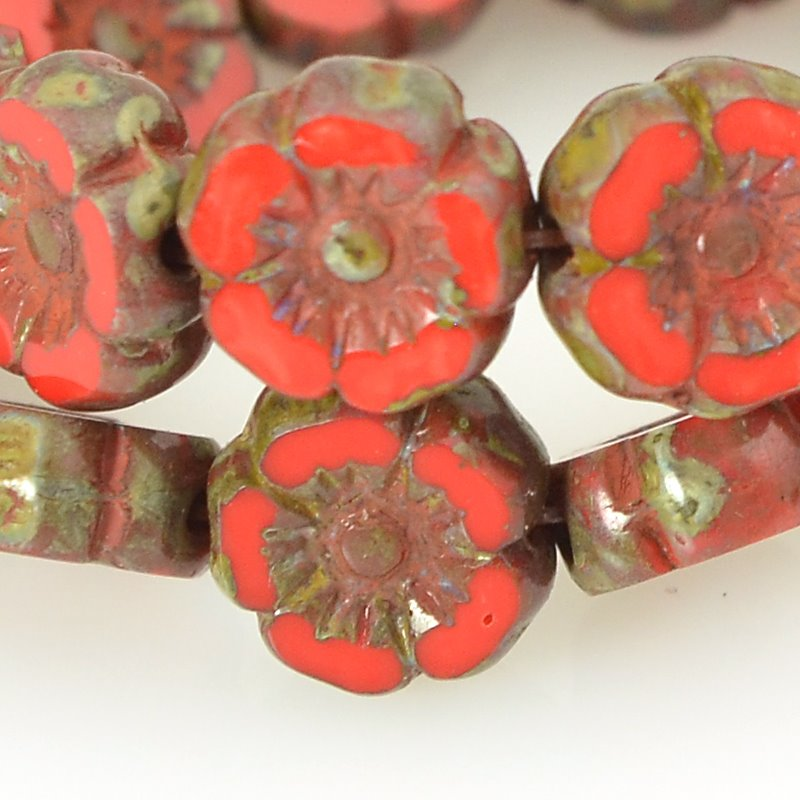 s62570 Czech Glass - 7mm Hibiscus Flower - Coral Red Picasso (12)