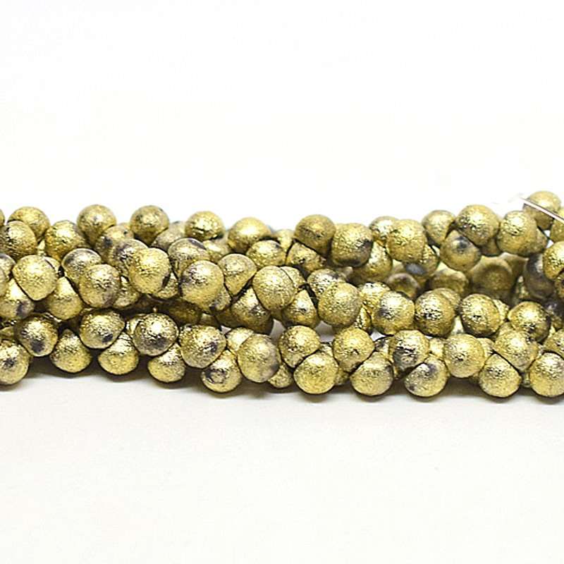 s63086 Glass Beads - 4mm Mushroom Button Drops - Gold Etch (50)