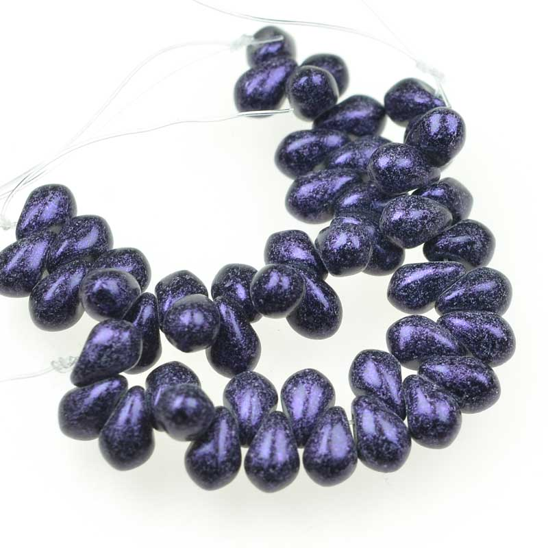 s63100 Glass Beads - 4x6mm Tiny Tims Drops - Van Gogh Eggplant (25)