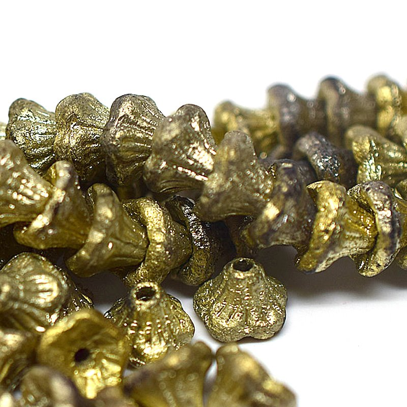s63103 Glass Beads - 7x5mm Flared Cup Flowers - Gold Etch (25)
