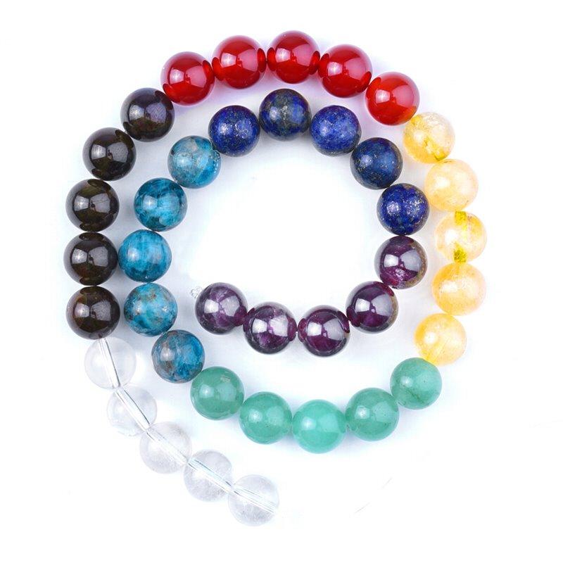 s63113 Stone Beads - 10mm Round - Chakra Banded Mixed Stone (strand)